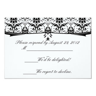 Formal Black White Damask RSVP Cards