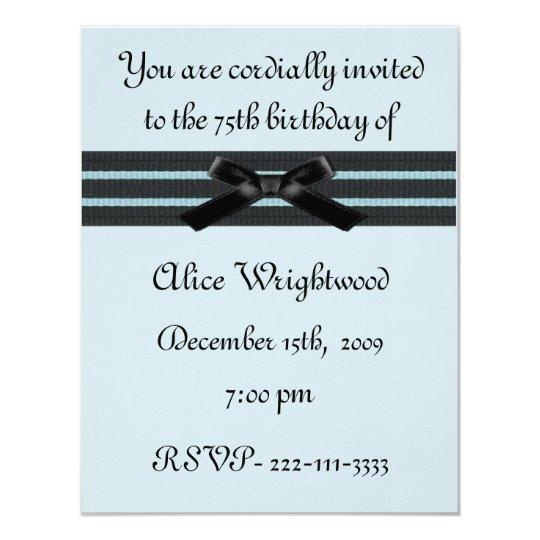 Formal Blue & Black Birthday Invitation