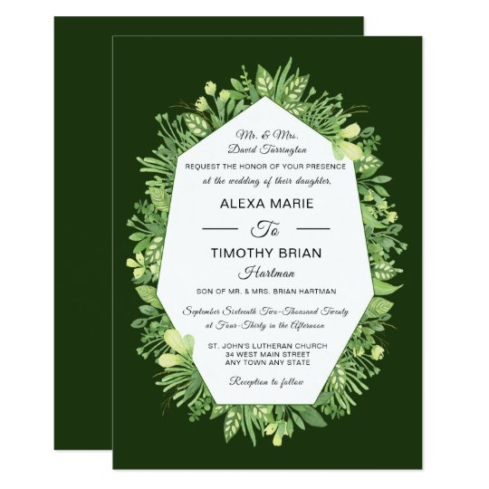 Formal Botanical Garden Elegant Wedding Invitation