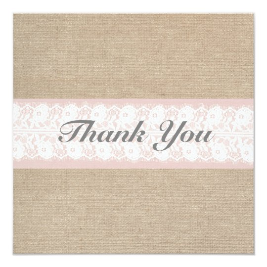 Formal Burlap & Lace Pink Thank You Card