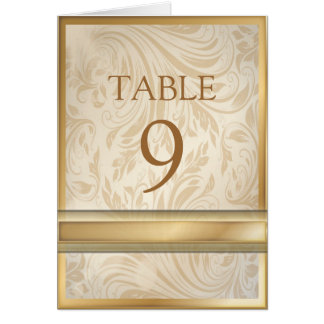 Formal champagne  gold Damask Wedding table number