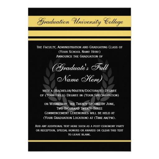 Formal College Graduation Announcements ~ Black