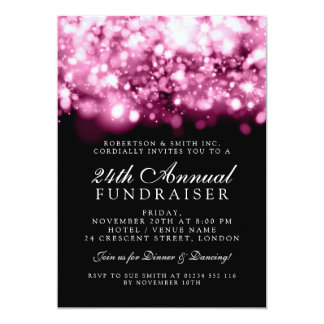 Formal Corporate Gala Event Pink Sparkling Lights Card