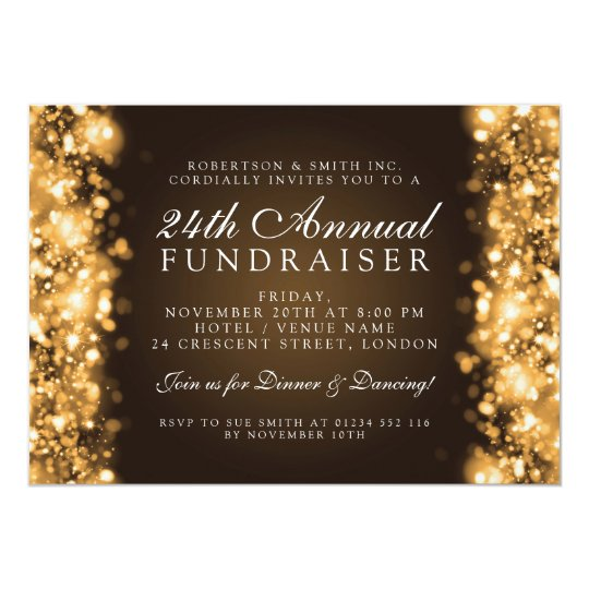 Formal Corporate Party Fundraiser Gala Gold Card