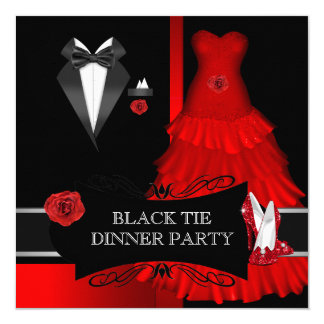 Formal Dinner Party Black Tie Red Shoe 5.25x5.25 Square Paper Invitation Card