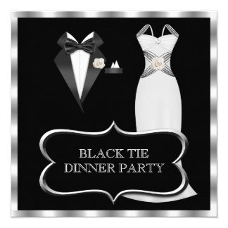 Formal Dinner Party White Black Tie 13 Cm X 13 Cm Square Invitation Card