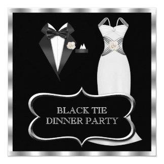 Formal Dinner Party White Black Tie 13 Cm X 13 Cm Square Invitation Card