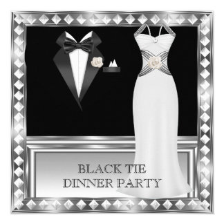 Formal Dinner Party White Black Tie Hollywood 2 Card
