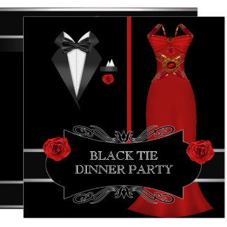 Formal Dinner Party White Black Tie Red 2B Card