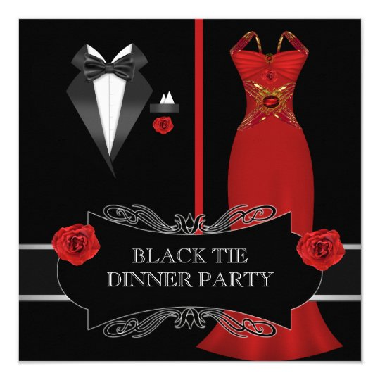 Formal Dinner Party White Black Tie Red 2B