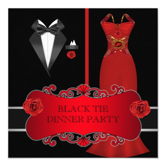 Formal Dinner Party White Black Tie Red 2C