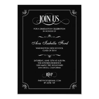Formal Elegance Graduation Invitation - Black Personalized Invitations