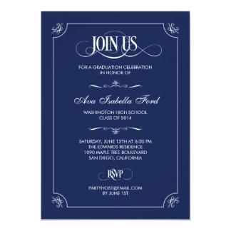 Formal Elegance Graduation Invitation - Navy Blue Personalized Announcements
