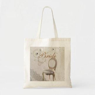 Formal elegant lace paris vintage bride budget tote bag