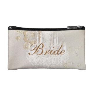 Formal elegant swirls chandelier vintage bride cosmetic bag