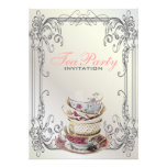 Formal elegant swirls  White vintage tea party Personalised Announcements