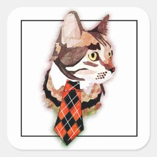 Formal Feline Square Sticker