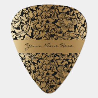 Formal Floral Black and Gold Wedding Guitar Pick