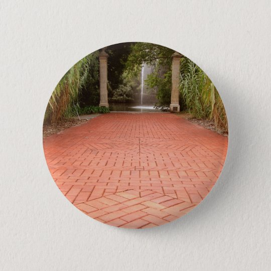 Formal Garden Path to Water Fountain 6 Cm Round Badge