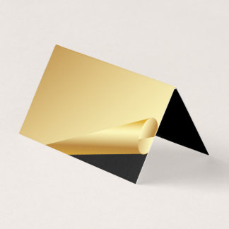 Formal Gold and Black Wedding Folded Place Card
