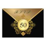Formal Gold Black 50th Birthday Anniversary RSVP Announcements