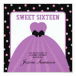 Formal Gown Sweet Sixteen with polka dots 13 Cm X 13 Cm Square Invitation Card