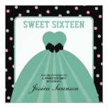 Formal Gown Sweet Sixteen with polka dots Invitations