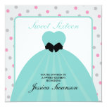 Formal Gown Sweet Sixteen with polka dots Invitation