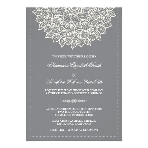 Formal Lace Doily Wedding Invitation (grey) 13 Cm X 18 Cm