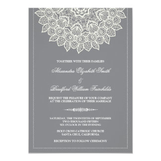 Formal Lace Doily Wedding Invitation (grey)