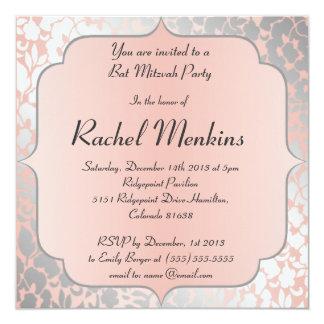 Formal Metallic Peach Floral Bat Mitzvah 13 Cm X 13 Cm Square Invitation Card