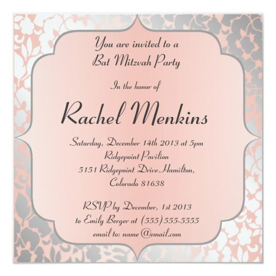 Formal Metallic Peach Floral Bat Mitzvah Card