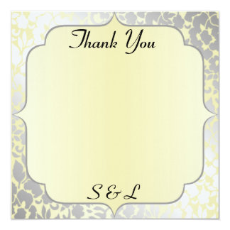 Formal Metallic Yellow Thank You Card / Note 13 Cm X 13 Cm Square Invitation Card