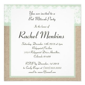 Formal Mint Burlap Lace Bat Mitzvah Invitation