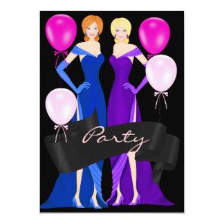 Formal Party Black Dress Blue Purple Pink 13 Cm X 18 Cm Invitation Card