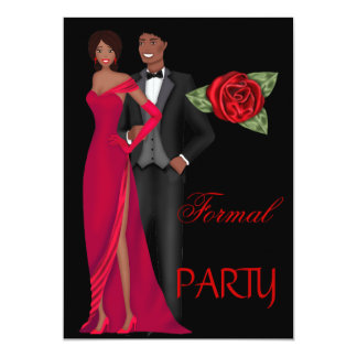 Formal Party Gold Black Red Dress Black tie 13 Cm X 18 Cm Invitation Card