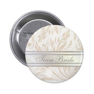 Formal Pearl White Damask Wedding Favor 6 Cm Round Badge