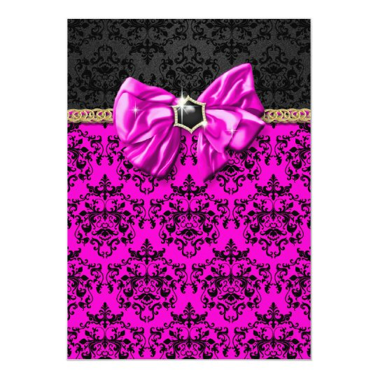 Formal pink black gold damask party card