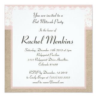 Formal Pink Lace Burlap Bat Mitzvah Invitation
