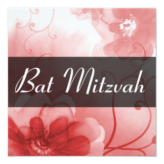 Formal Red and Gray Flower Bat Mitzvah Invitation