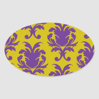 formal royale damask design oval stickers