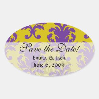formal royale damask design oval sticker