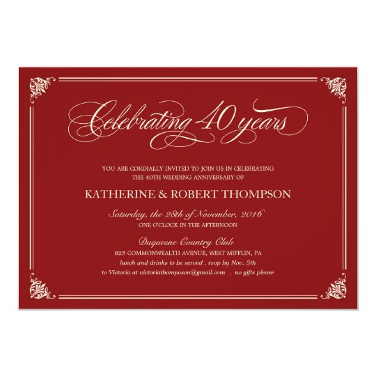 formal ruby 40th anniversary invitations zazzle co uk