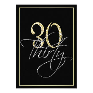 Formal Silver Black and Gold 30th Birthday Party 11 Cm X 16 Cm Invitation Card