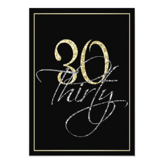 Formal Silver Black and Gold 30th Birthday Party 13 Cm X 18 Cm Invitation Card