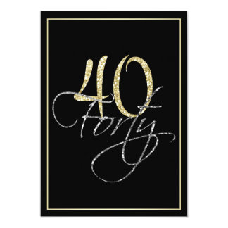 Formal Silver Black and Gold 40th Birthday Party 13 Cm X 18 Cm Invitation Card
