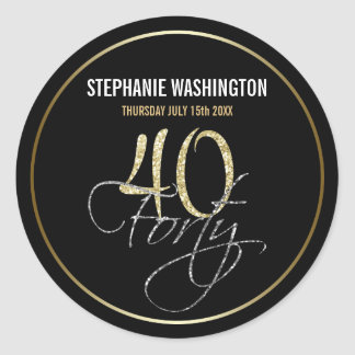 Formal Silver Black and Gold 40th Birthday Party Round Sticker