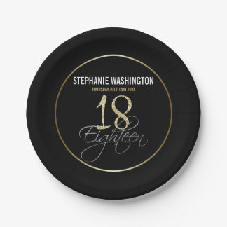 Formal Silver, Black & Gold 18th Birthday 7 Inch Paper Plate