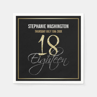 Formal Silver, Black & Gold 18th Birthday Party Paper Napkin