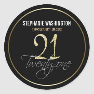 Formal Silver, Black & Gold 21st Birthday Party Round Sticker